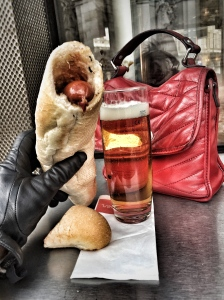 Having a hotdog and beer, on a rainy day in Vienna, is more exciting than you think; hotdog; beer; Austrian hotdog; German hotdog; Wiener Wurst; Wienerwurst; Vienna sausage; bier; sausage; Austrian sausage; German sausage; wurst; Austrian beer; German beer; food and drink; Austrian food; German food; Austrian drink; German drink; food; drink; eat; Austria; Germany; Europe; European; travel; family travel; Wien; Vienna; Österreich;