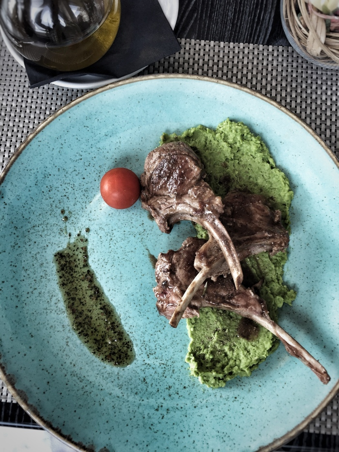 Lamb on baby green pea puree - Croatian food is most delicious!