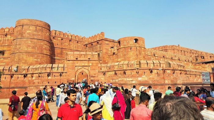 Agra Fort in Agra, India; people; Indian people; tourists; tourism; crowds; sightseeing; UNESCO site