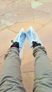 Shoe covers to the monuments at the Taj Mahal in Agra, India; Taj Mahal; Agra; India; shoe covers; protective cover; plastic shoes