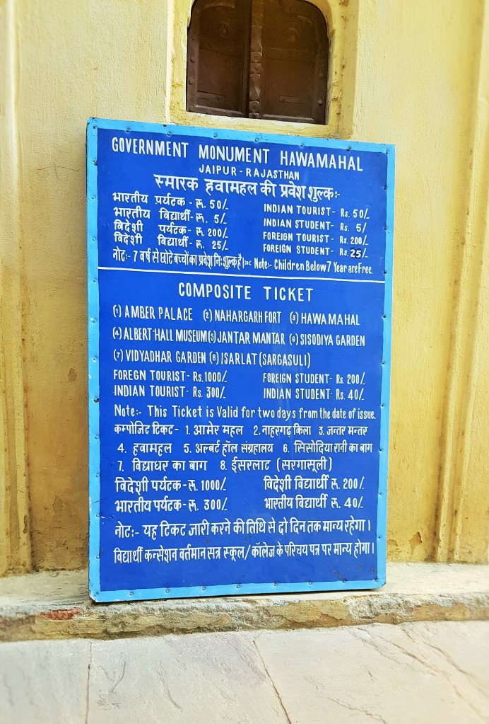 entrance tickets; foreign tourists, local tourists; international tourists; foreign visitors; local visitors; entrance; tickets; prices; tourism; tourists; Jaipur; Pink City, Rajasthan; Land of Kings; UNESCO; World Heritage Site; UNESCO site; heritage site; heritage; India; Indian